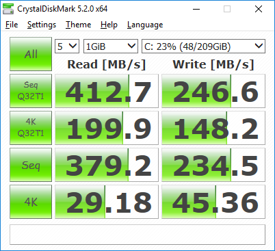 Samsung 840 EVO SSD with Marvell 1.2.0.1048_WIN10_WHQL x64 driver in second from the bottom PCIE slot