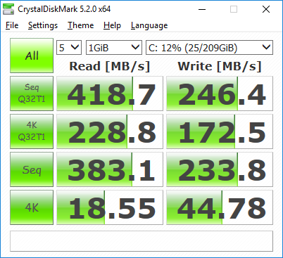 Samsung 840 EVO SSD with default Microsoft Windows 10 x64 driver in second from the bottom PCIE slot